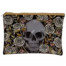 Handy Clear PVC Toiletry Make-up Bag - Skulls and Roses Design