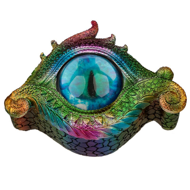 All Seeing Eye Metallic Rainbow Dragon Trinket Box