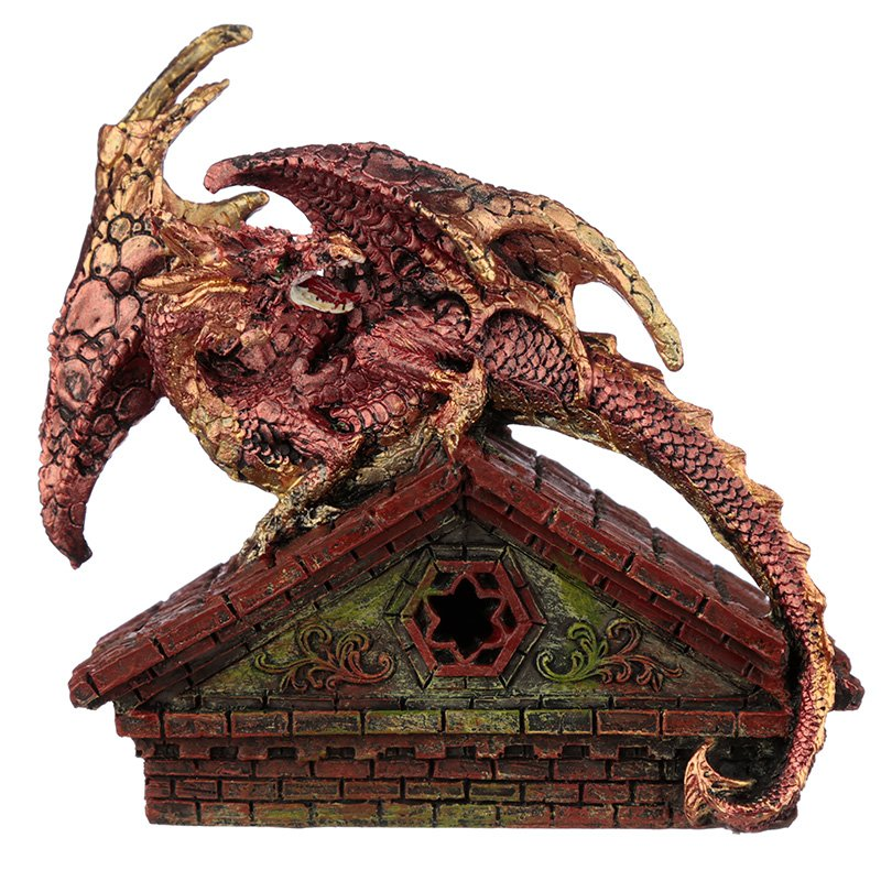 Stained Glass Window Roof Top LED Dragon Figurine