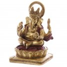 "Decorative Gold and Red 14cm (5.5"") Ganesh Statue"