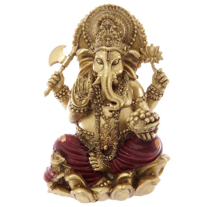 """Gold and Red 16cm (6"""") Ganesh Statue"""