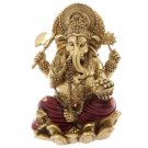 "Decorative Gold and Red 16cm (6"") Ganesh Statue"