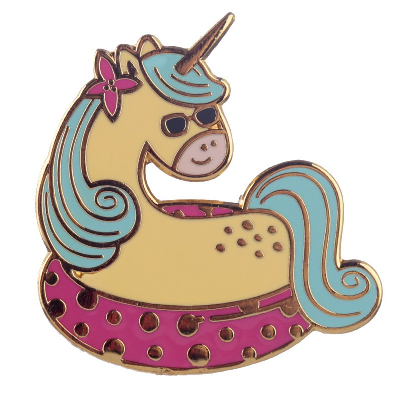 Vacation Unicorn Enamel Pin Badge