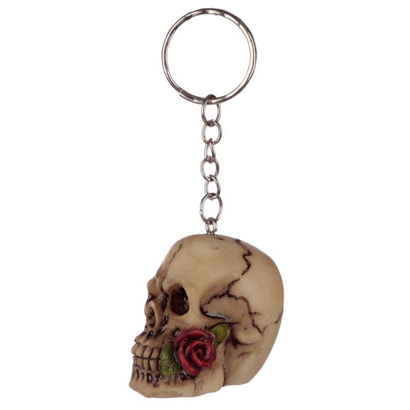Skulls and Roses Keyring