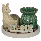 Eden Aroma Set - Cactus Oil Burner & Llama Ceramic Figurine
