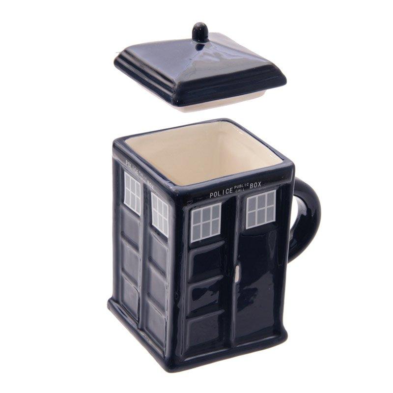 Ceramic Police Box Square Mug with Lid
