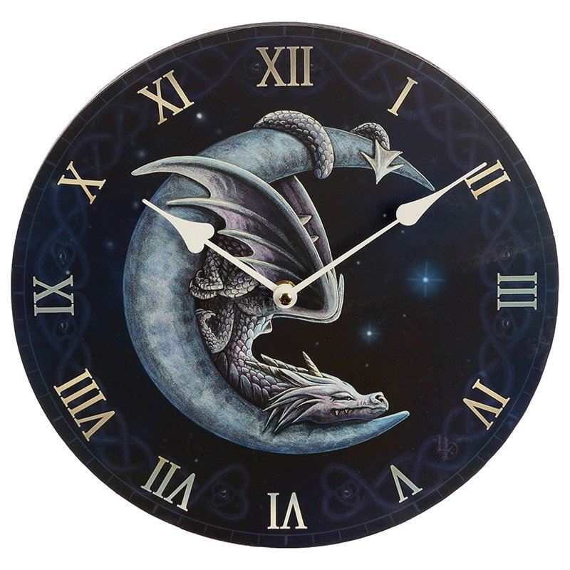 Sweet Dreams Dragon in Moon Wall Clock