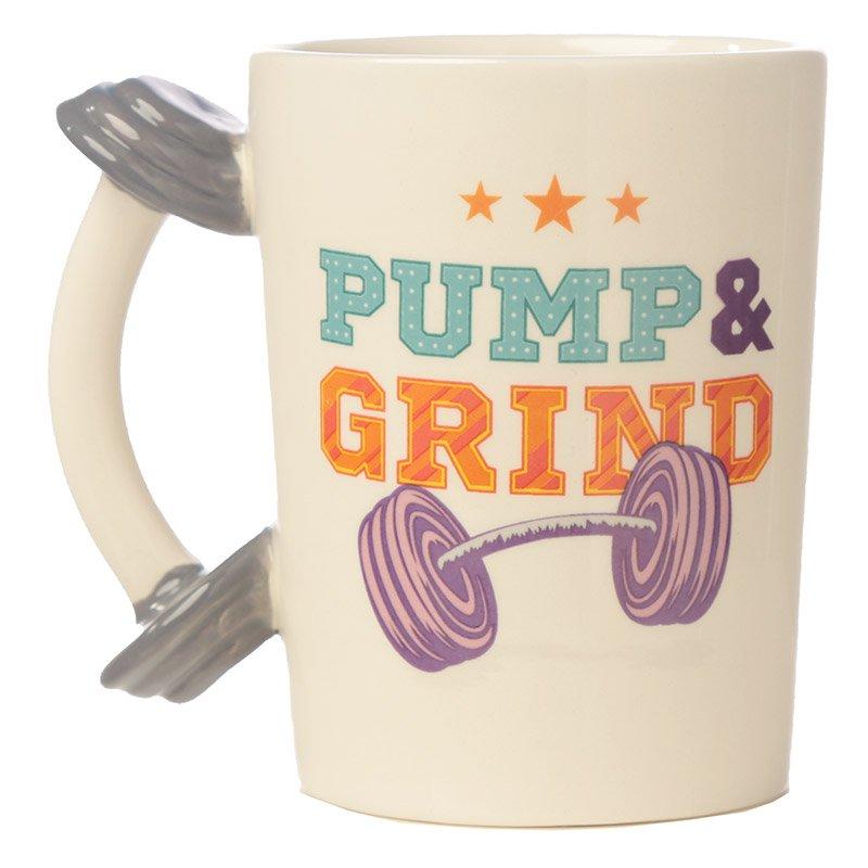 Dumbbell Handle 'Pump and Grind' Ceramic Mug