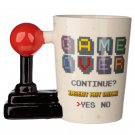 Ceramic Gaming Joystick Handle Mug with Arcade Decal