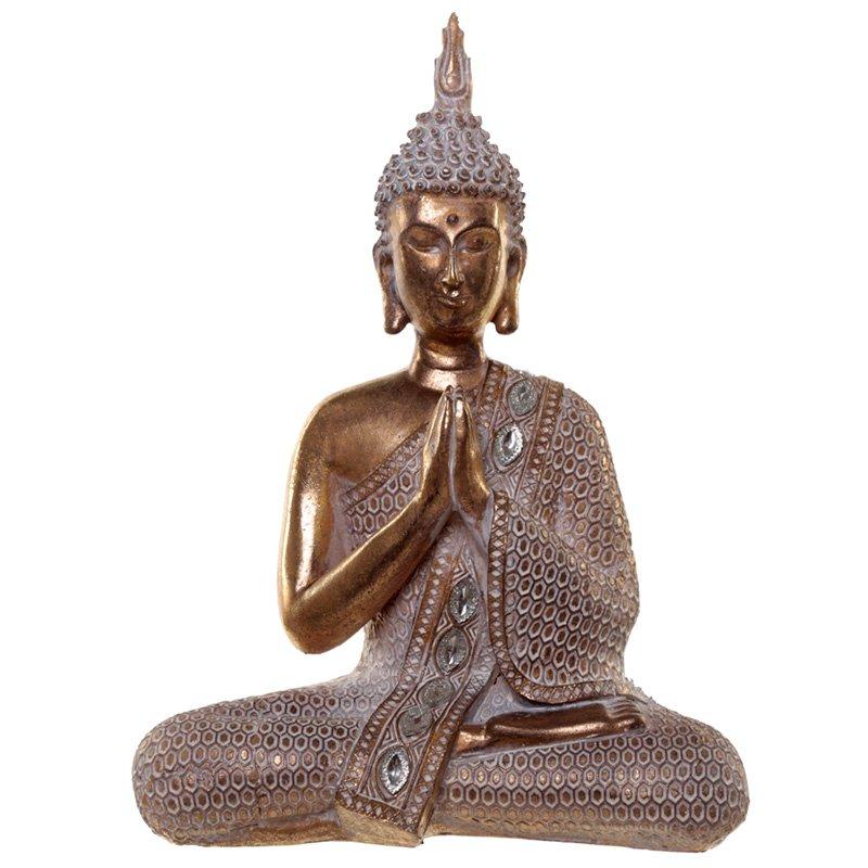 Thai Buddha Figurine - Gold and White Lotus