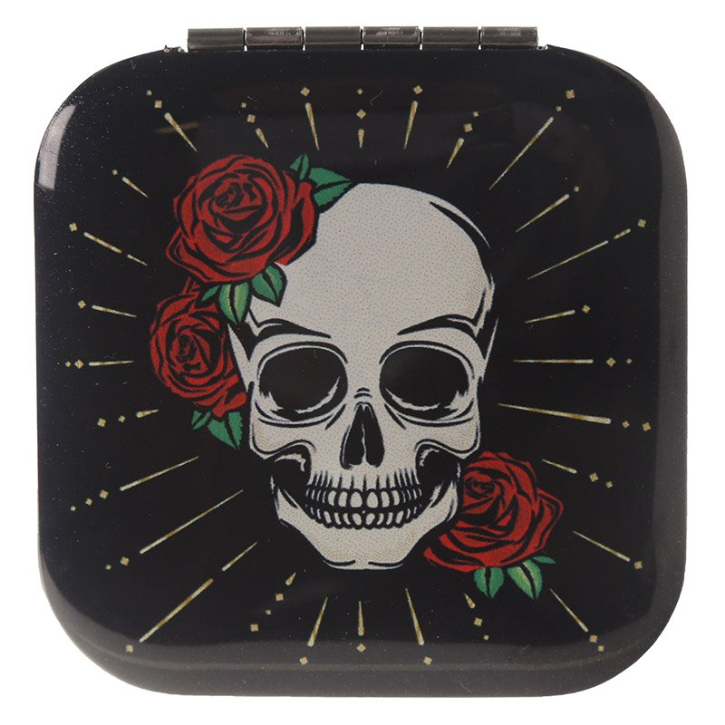 Compact Mirror - Skull and Rose