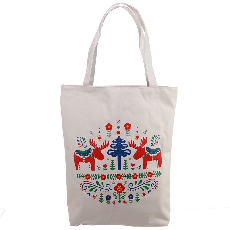 Handy Cotton Zip Up Shopping Bag - Scandi Moose Design