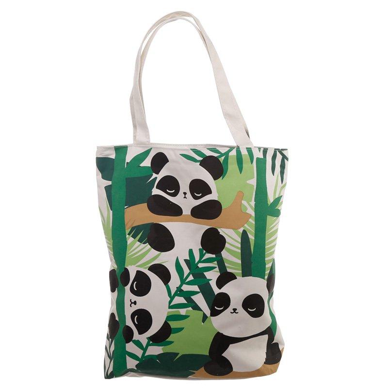 Handy Cotton Zip Up Shopping Bag - Pandarama Design