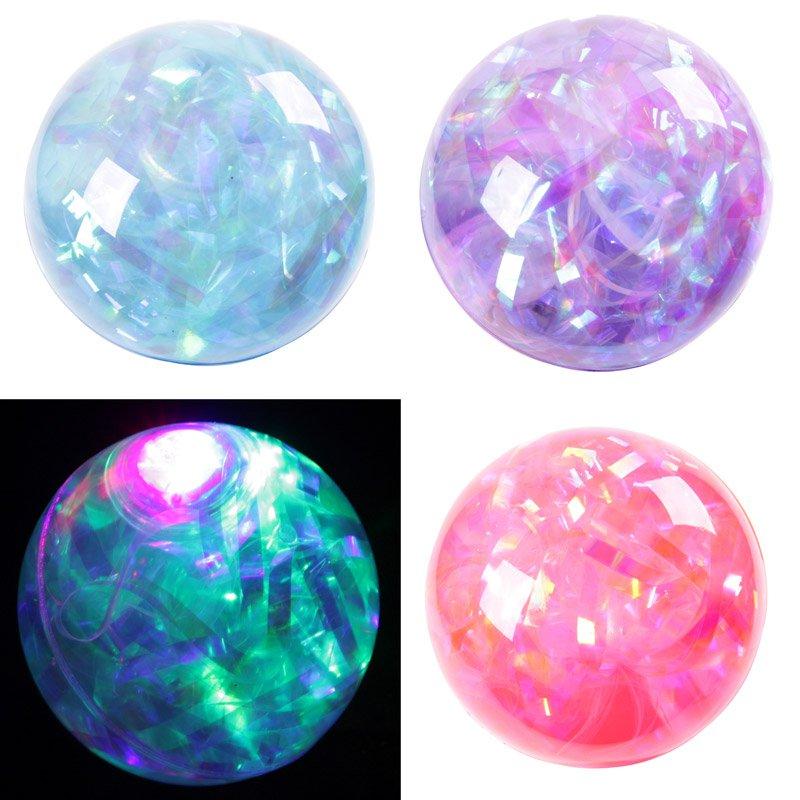 Kids Flashing Rubber Bouncy Ball - Multi Glitter (Assorted)