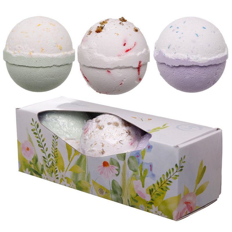 Handmade Bath Ball Set of 3 - Botanical Fragrances in Gift Box