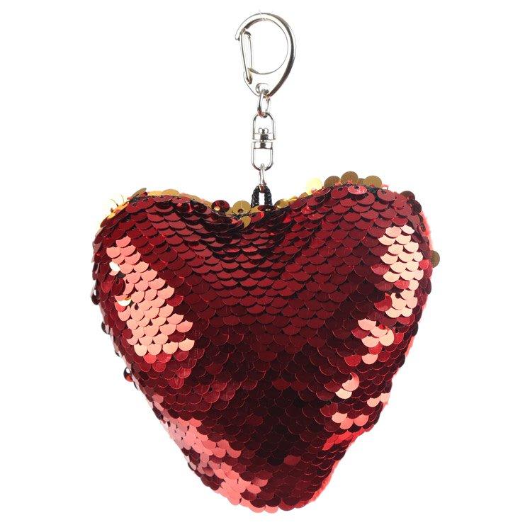 Heart Shaped Glitter Sequin Keyring Key Chain