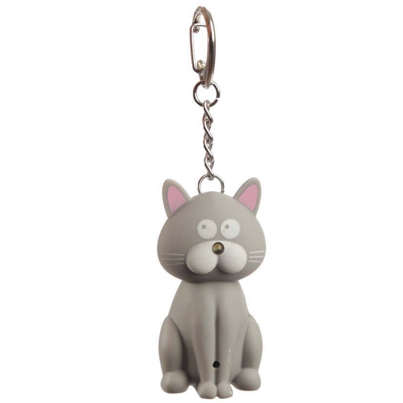 Meowing Light and Sound Kitty Cat Keyring (Assorted)