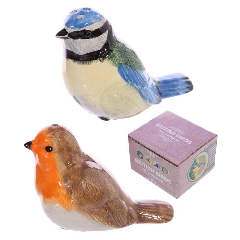 Novelty British Birds Blue Tit and Robin Salt and Pepper Set