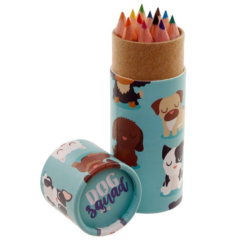 Kids Colouring Pencil Tube - Dog Squad
