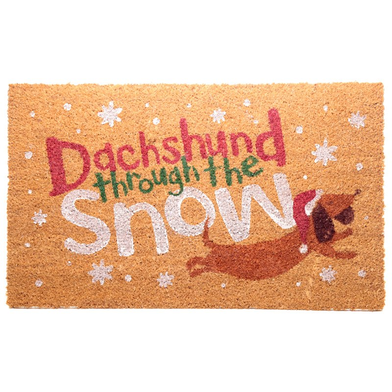 Coir Door Mat - Dachshund Through the Snow Christmas Design