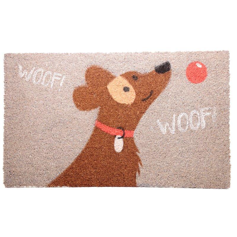 Coir Door Mat - Woof Woof Catch Patch Dog Design