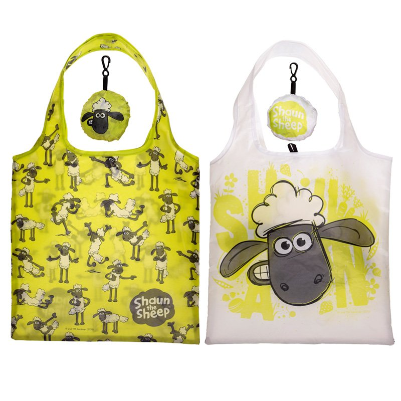 Fold Up Shaun the Sheep Shopping Bag with Holder (Assorted)