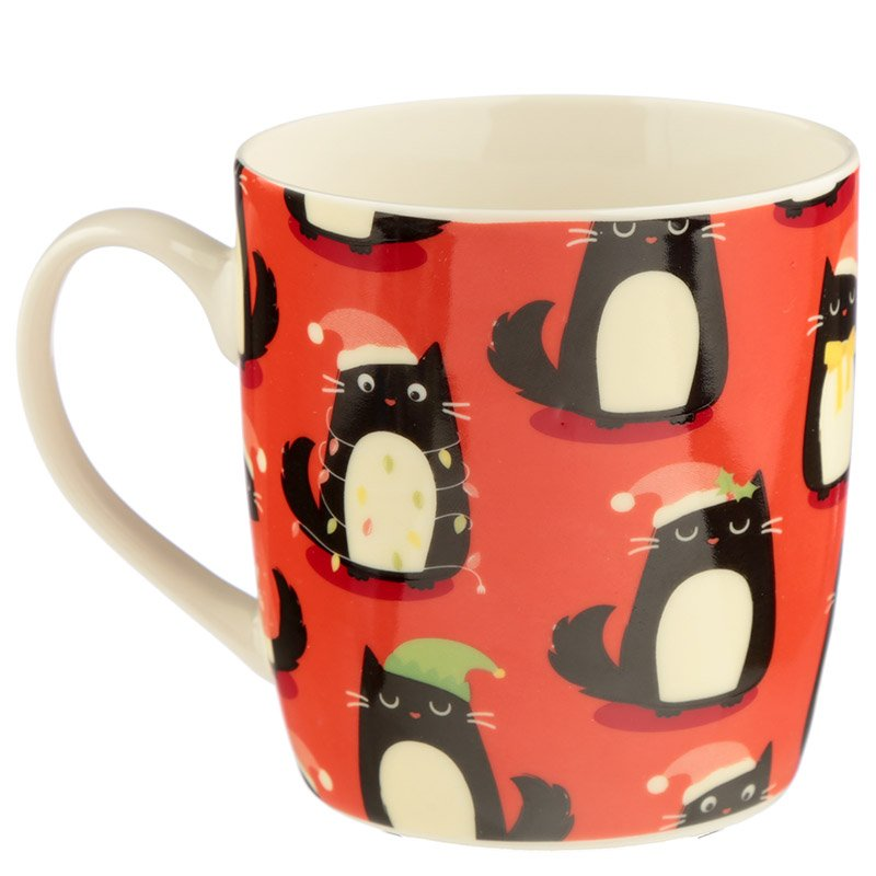 Christmas Bone China Mug - Feline Festive Cat