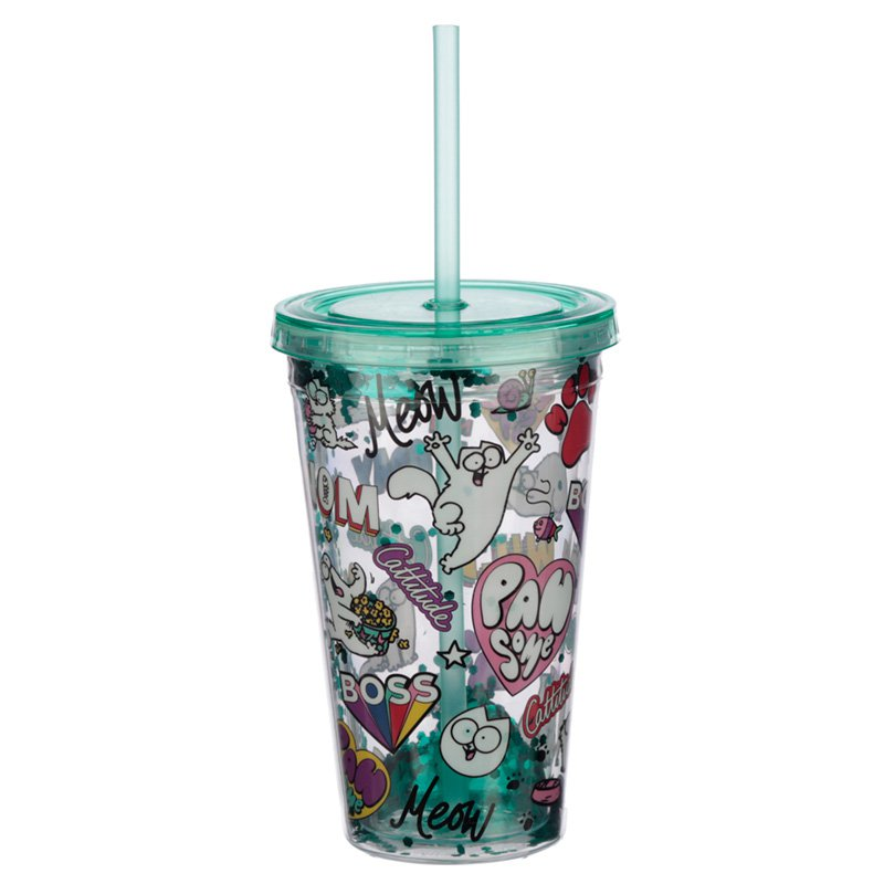 Simon's Cat Pawsome Double Walled Cup with Lid and Straw