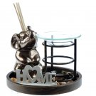 Eden Aroma Set - Metal Oil Burner & Ceramic Elephant Diffuser