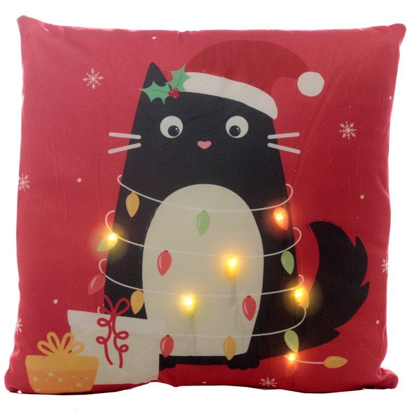 LED Cushion - Christmas Festive Feline Cat