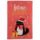 Christmas Cat Festive Feline Tea Towel