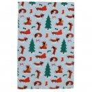 Dachshund Through The Snow Christmas Tea Towel