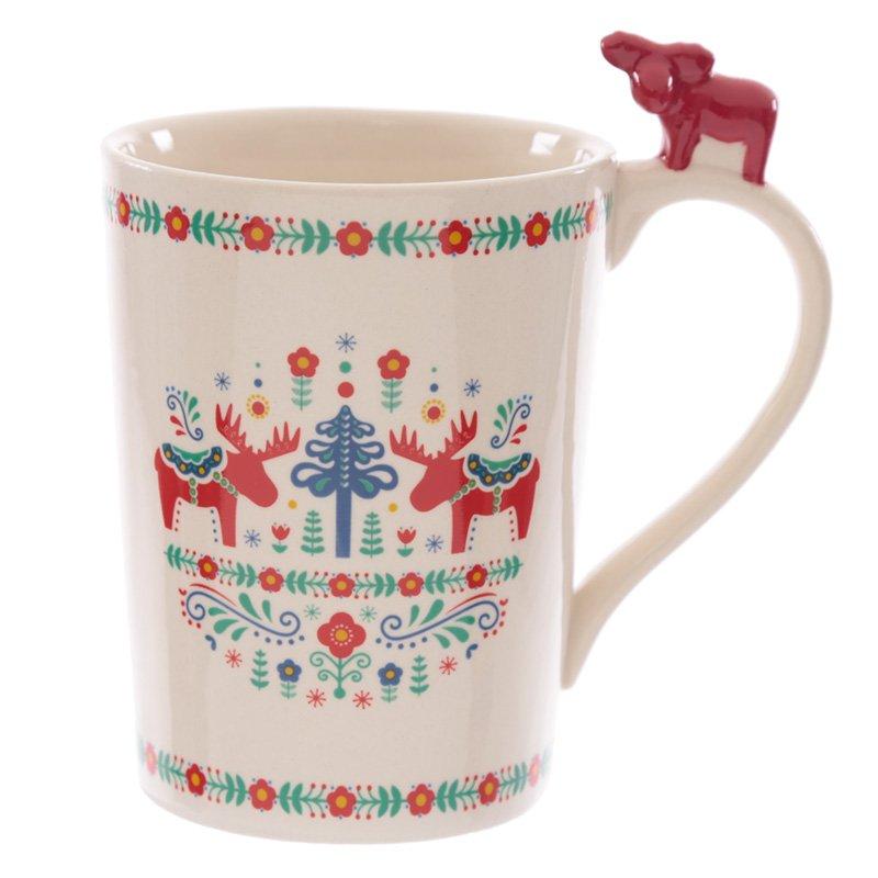 Ceramic Scandi Mug with Moose on Handle