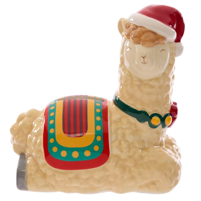 Ceramic Christmas Llama Money Box
