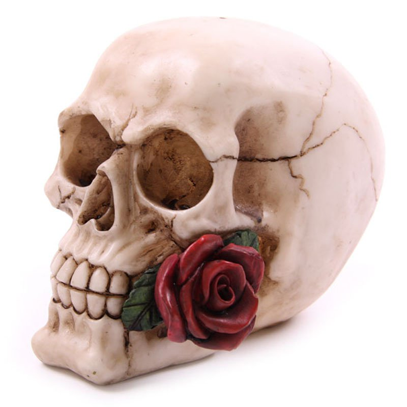Skull Head with Roses Ornament
