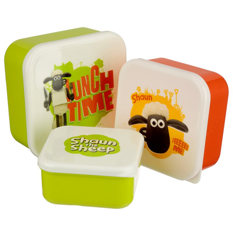 Shaun The Sheep Set of 3 Plastic Lunch Boxes