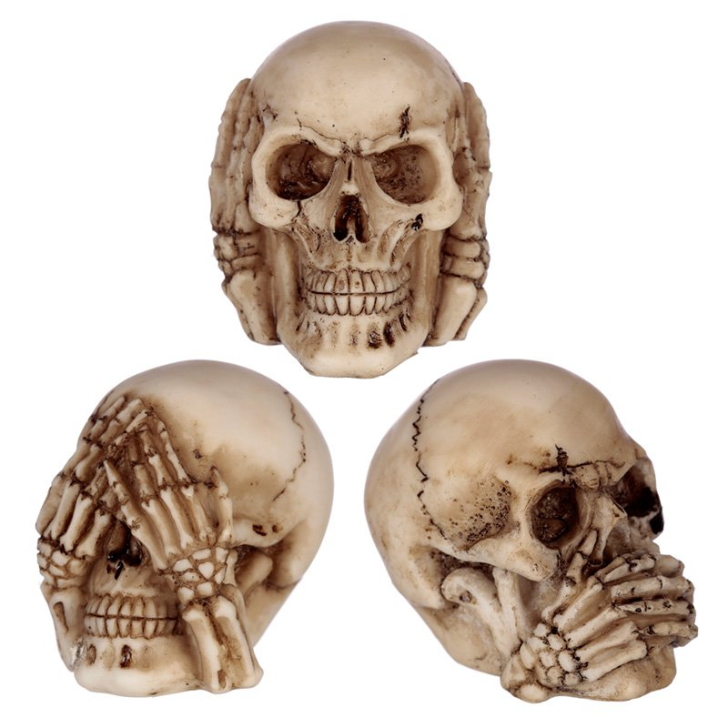 Speak No, Hear No, See No Evil Set of 3 Small Skulls
