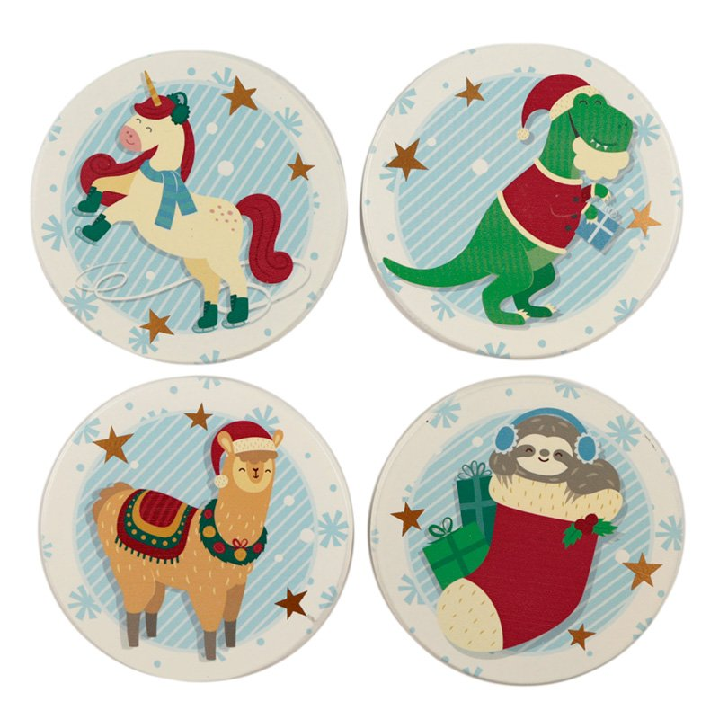 Set of 4 Coasters - Christmas Festive Friends