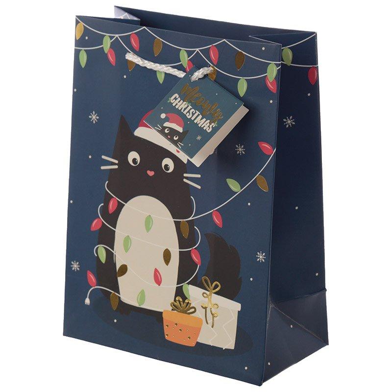 Feline Fine Christmas Cat Design Medium Gift Bag