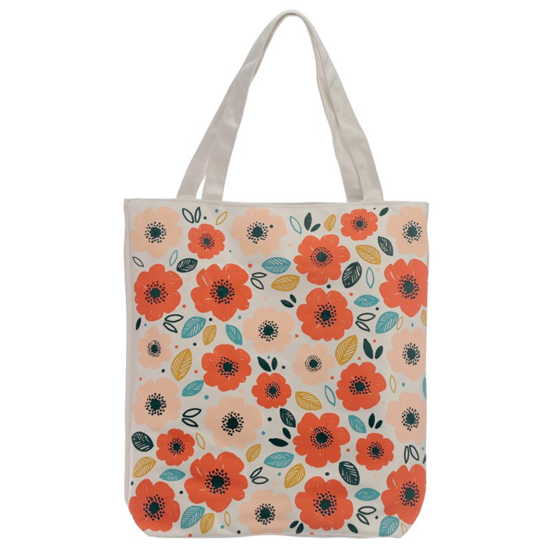 Cotton Zip Up Shopping Bag - Poppy Fields