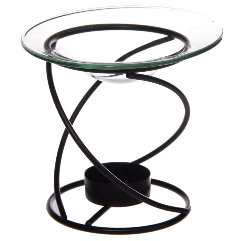 Thin Spiral Black Metal Oil Burner with Glass Dish