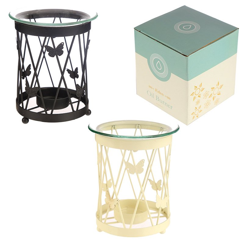 Lattice Butterfly Metal Oil Burner with Glass Dish (Assorted)