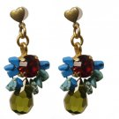 Unique Swarovski Crystals and Turquoise Stones Earrings - Party Earrings