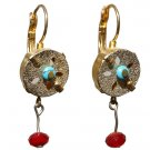 Gold and Turquoise Stone Earrings - Silver and Red Crystal