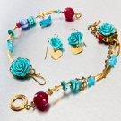 Vintage Gold Bracelet with Turquoise Polymer Rose -