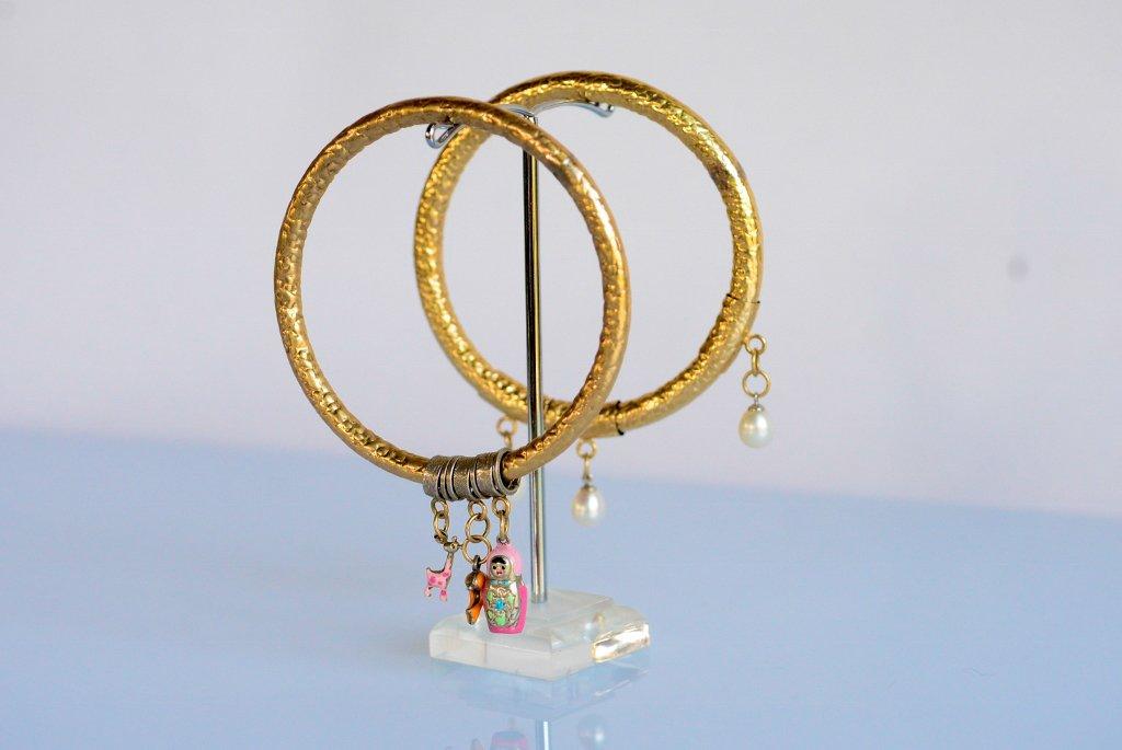 Round Gold Bracelets With Pearls - Bangle Bracelet - Fresh Water Pearls Bracelet - Gold filled
