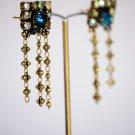Elegant Vintage Brass and Swarovski Post Earrings - Beautiful Bridesmaid Vintage Earrings
