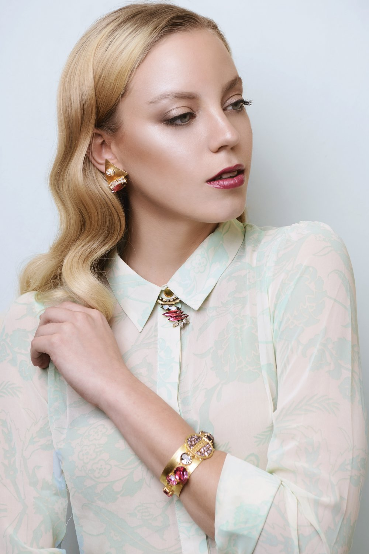 Amazing Gold Choker Swarovski Necklace - Fuchsia Necklace - Bridesmaids Jewelry - Gold Choker