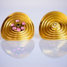 Beautiful Gold Ring With Crystals - Kinetic Jewelry - Crystal Ring - Pink Ring