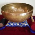Handmade Buddha and Mantra Carved Singing Bowl 10 inch